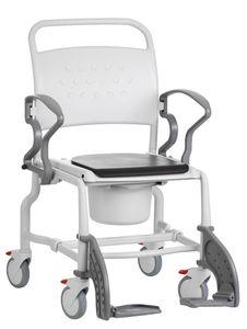 FabaCare Toilettenrollstuhl XXL Boston,  Germany, Premium Toilettenstuhl, WC Rollstuhl, fahrbar, mit Eimer, bis 150 kg, Grau-Grau