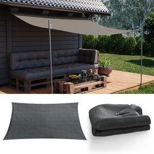 OSKAR Sonnensegel Rechteck 2x3m Anthrazit Sonnenschutz Windschutz UV-Schutz HDPE