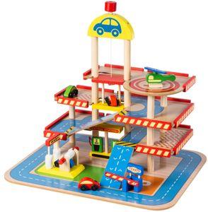 Große Holzgarage Parkhaus mit Aufzug für Kinder inkl. Spielzeug-Autos - 3 Parkebenen