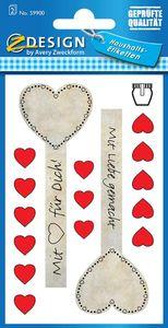 Haushaltsetiketten 4x Glas-Siegel 28x Herzen