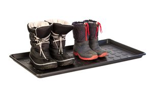 2er Set Schuhabtropfschale Schwarz - 76 x 38,5 cm - Stabiler Kunststoff - Für 3 Paar Schuhe