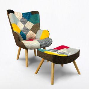 Sessel Modernes Design Patchwork Stuhl mit Hocker Fußstütze Patchy PlusHöhe (cm): 92, Breite (cm): 76, Tiefe (cm): 76, Zusammensetzung: Textile, Modelle: PATCHY PLUS, Länge (cm): 76, Färbung: Multicolor