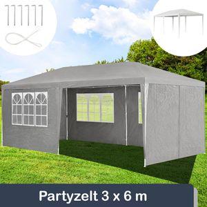 Juskys Partyzelt 3x6 m grau mit 6 Seitenwände – Pavillon wasserabweisend & stabil – Festzelt für Garten, Terrasse, Party - Gartenpavillon