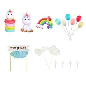 16 × Tortendeko Geburtstag Kuchen kinder Einhorn Kuchen Topper Verzieren Set Regenbogen Luftballons Wolke