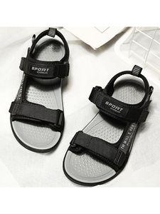 Sandalen Mit Kinderbriefdruck Mit Klettverschluss Und Weicher Sohle,Farbe: Grau,Größe:32