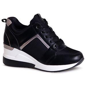 topschuhe24 1996 Damen Keilabsatz Sneaker Halbschuhe, Farbe:Miami Schwarz, Größe:38 EU