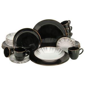CreaTable 22102 Kombiservice Enjoy Black Style & Gold für 6 Personen, Porzellan, schwarz/weiß/gold (1 Set, 30-teilig)
