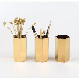 Moderne Gold Sechseckige Metall-Stifthalter Stift Pot Schreibtisch Veranstalter Akzent Vase