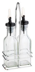 APS Essig-/Öl-Menage  /// 10,5 x 5,5 cm, H: 24 cm  /// Metall, verchromt  /// Essig-/Öl-Glasbehälter, 120 ml /// 40445