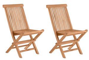 Möbilia Gartenstuhl 2er-Set aus Teak Holz | klappbar | B 47 x T 57 x H 89 cm | natur | 11020003 | Serie GARTEN