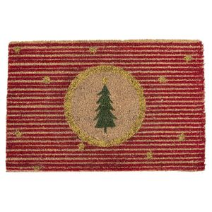 Kokos-Fußmatte Stripe - Kokosfasern Fußmatte mit Tannenbaum-Motiv - 40 x 60 cm