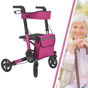Juskys Aluminium Rollator Vital klappbar & leicht inkl. Sitz, Tasche, Bremse & Gehstock-Halterung | 6-fach höhenverstellbar | 130 kg | lila-pink