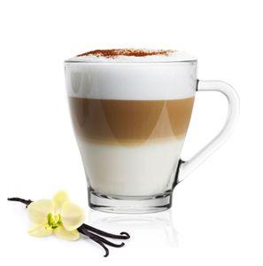 6 Cappuccino Kaffeegläser Teegläser 250 ml Henkel und 6 Edelstahl-Löffel GRATIS