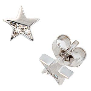 Ohrstecker Sterne GINA 585 weißgold 4 Diamanten
