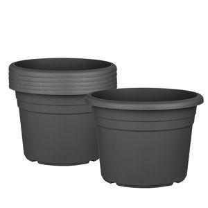 6x Blumentopf Ø 25 cm Farbe Anthrazit Kunststoff Pflanztopf Containertopf Übertopf Pflanzkübel rund