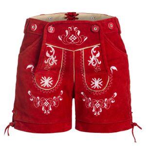 Damen Trachten Lederhose mit Trägern rot 42