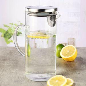 Karaffe 1,3 Liter Wasserkaraffe Saftkrug Krug aus Glas mit Ausgiesser und Sieb Saft