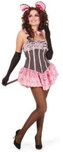 W4854-40-A grau-rosa Damen Maus Mäuse Kostüm-Kleid Gr.40