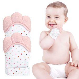 Handschuh Baby Beißhandschuh 2er Pack Silikon Beißringhandschuh in Lebensmittelqualität für Babys Beißspielzeug Beruhigende Schmerzlinderung Mitt Stimulierende Beißringhandschuhe