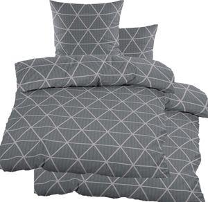 4-tlg. Seersucker Bettwäsche 2x (135x200 +80x80cm), grau Dreiecke, bügelfrei, Microfaser