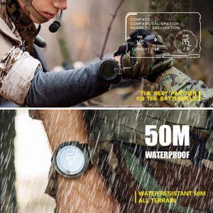 Digitale Sportuhr fš¹r Herren mit H?henmesser-Barometer Kompass World Time 50M Wasserdichte Pedometer-Armbanduhr