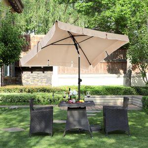 SONGMICS Sonnenschirm 200 x 125 cm, UV-Schutz bis UPF 50+, Gartenschirm, knickbar, Schirmtuch mit PA-Beschichtung, ohne Ständer, Taupe GPU25BR