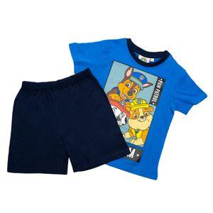 PAW PATROL - Jungen Shorty Set - T-Shirt und Hose - Schlafanzug - Motiv 2020 - Blau, Größe:122/128