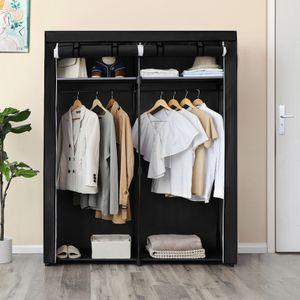 Kleiderschrank mit 2 Stangen faltbar 140 x 43 x 174 cm Stoffschrank Kleiderständer Garderobe Schwarz RYG02BK von SONGMICS