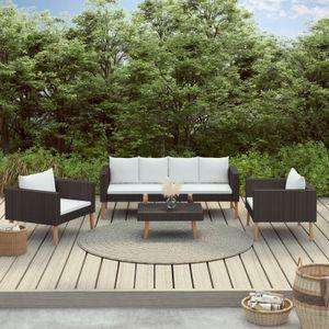 dereoir 4-tlg. Garten-Lounge-Set mit Auflagen Poly Rattan Schwarz