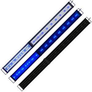 150-170cm Klappbar LED Aquarium Beleuchtung Lampe Fisch Tank Süß/Meerwasser Wasserpflanzen Aquariumleuchte Aufsetzleuchte Weiß/Blau/Weiß+Blau