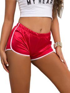 Damen Mid-Rise Yoga Slim Fit Shorts Hosen Mini Shorts,Farbe: Rot,Größe:L
