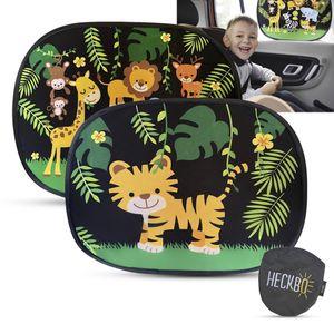 HECKBO® - Selbsthaftende Auto Sonnenblende (ohne Saugnäpfe), 2 Motive: 1x Dschungel & 1x Tiger, Autosonnenschutz Kinder, 44x36cm, UV Schutz, Autofenster Sonnenschutz Autosonnenblende inkl. Tasche