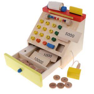 Holz Kasse / Registrierkasse mit Scanner, Kinder Kaufläden Rollenspiel Spielzeug