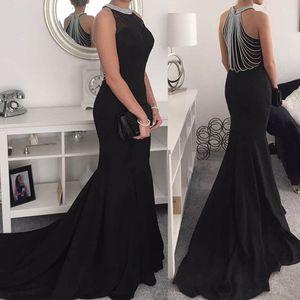 Mode Frauen Abendkleid Bling Ärmelloses O-Ausschnitt Langes Kleid Partykleid Größe:L,Farbe:Schwarz