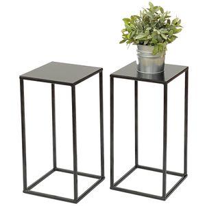 2x DanDiBo Blumenhocker Metall Schwarz Eckig 42,5 cm Blumenständer Beistelltisch 434 Blumensäule Modern Pflanzenständer Pflanzenhocker