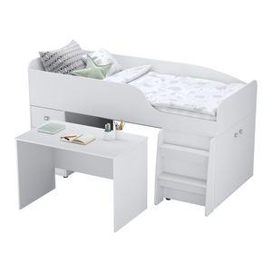 Polini Kids Etagenbett Stockbett Hochbett mit Schreibtisch Kommode Kleiderschrank in Weiß