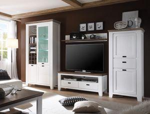 Wohnwand Barnelund Akazie weiß 4-teilig Medienwand TV-Wand TV-Möbel