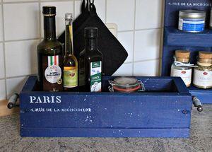 Ordnungsbox Küche Bad Holz blau Vintage Shabby Holzkiste Holzbox