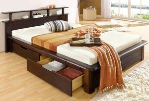 Stauraumbetten 180 x 200 cm,Jugendbetten aus massivem Kiefernholz,Bett im Landhaus-Stil-dunkelbraun