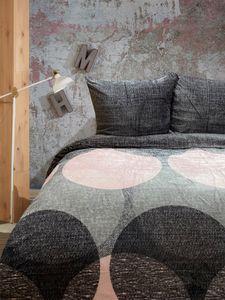 Teddy Plüsch Bettwäsche 135x200 + 80x80 cm rosa grau Kreise, 4 teilig