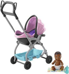 """Barbie """"Skipper Babysitters Inc."""" Storytelling Spielset Kinderwagen und Baby Puppe (brünett)"""