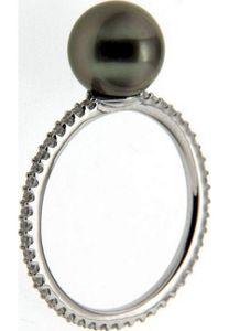 Adriana Perlenring Damenring Tahiti schwarz 8-9 mm rundum Zirkonia Silber I35 - 58