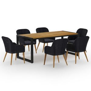 Gartenmöbel Essgruppe 6 Personen ,7-TLG. Terrassenmöbel Balkonset Sitzgruppe: Tisch mit 6 Stühle, Schwarz❀4591
