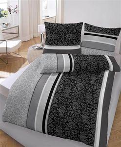 soma Biber Bettwäsche 2 teilig Bettbezug 155 x 220 cm Kopfkissenbezug 80 x 80 cm anthrazit Barock Blume