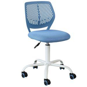 SoBuy FST64-BL Schreibtischstuhl höhenverstellbar Bürostuhl Jugenddrehstuhl Drehstuhl mit Rücklehne Arbeitsstuhl Sitzhöhe: 46-58cm Blau