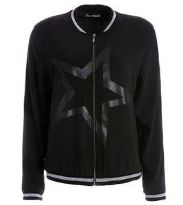 TUZZI Frühlings-Jacke leichte Damen Freizeit-Jacke mit Sternen-Print Schwarz/Silber, Größe:38
