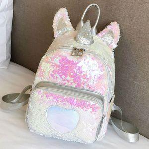 Netter Einhorn geformter Rucksack mit Pailletten für Kinder, 29 * 24 * 11cm