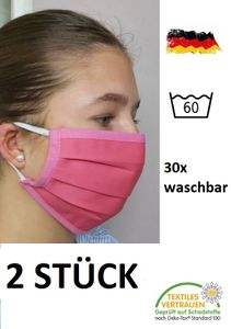 2x PINK / ROSA Behelfs- Mundschutz Mund Nase Maske Mundbedeckung wiederverwendbar waschbar