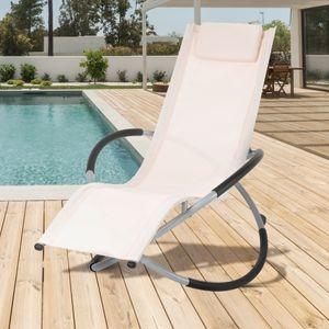 ECD Germany Alu Schaukelliege mit Kopfstütze Creme, faltbar, verstellbar, atmungsaktiv, UV- und wetterbeständig, für Garten und Terrasse, Sonnenliege Gartenliege Liegestuhl Relaxliege Schwingliege