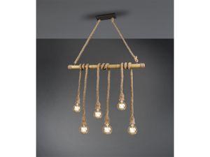 Trio Leuchten - Landhaus   Vintage Land Hängelampe   Pendellampe   Pendelleuchte braun mit Seil 6 Lichter - Tou   Wohnzimmer   Schlafzimmer   Küche - Bamboo Länglich - LED geeignet E27